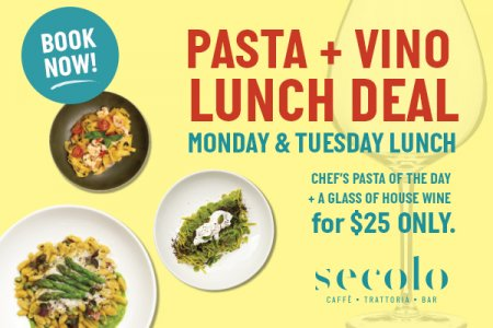 Great Pasta Wine Lunch Deal Special